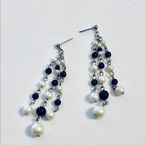 Black & Ivory Pearl Fringe Earrings